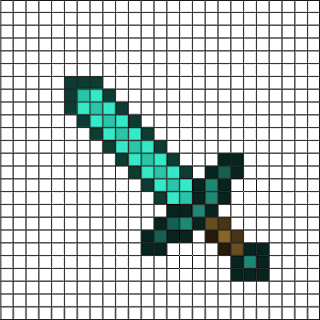 Diamond Sword Pixel Art Minecraft Pixel Art Pixel Art Pokemon