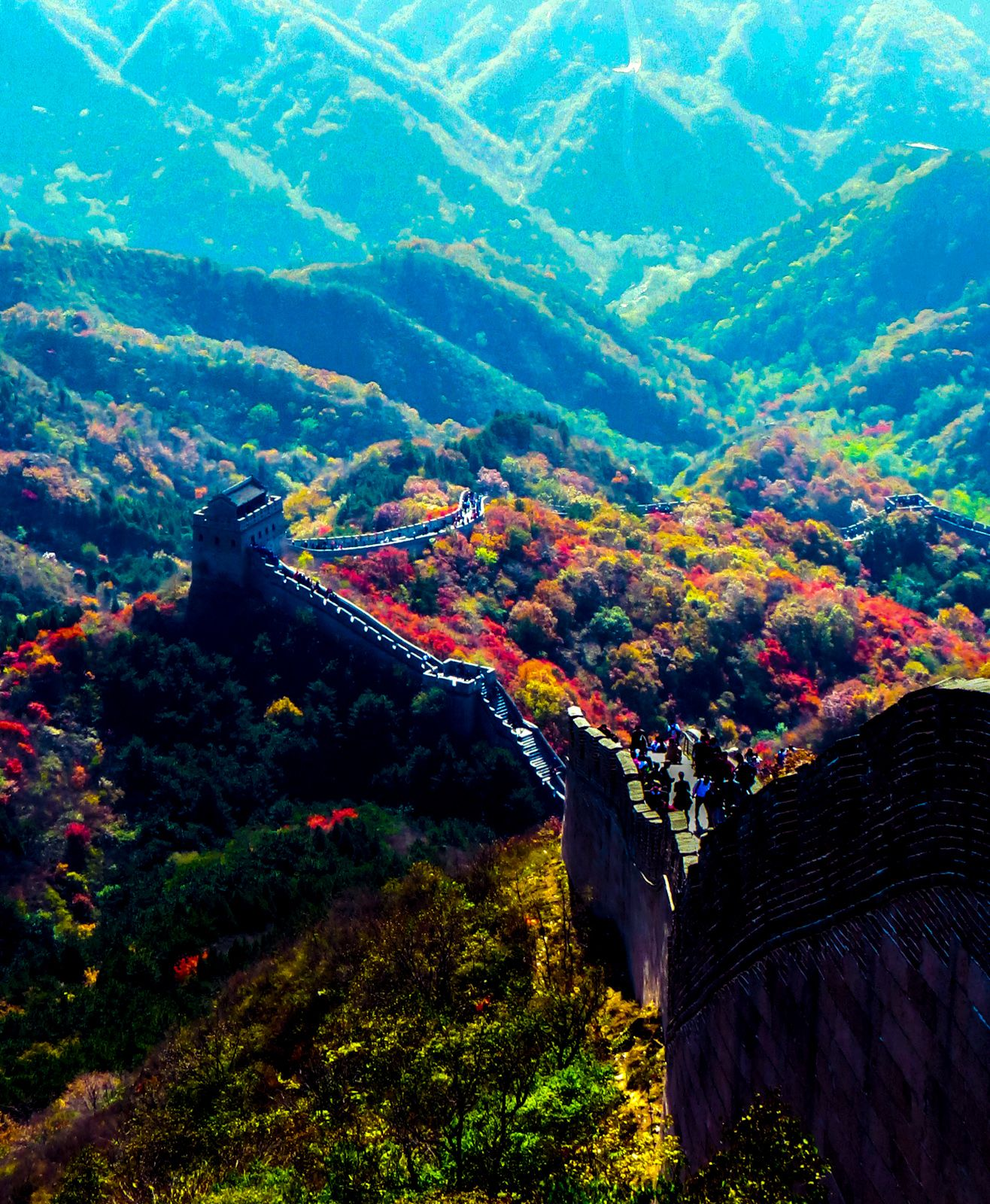 autumn colors in the badaling section of the great wall of on the great wall of china id=63713