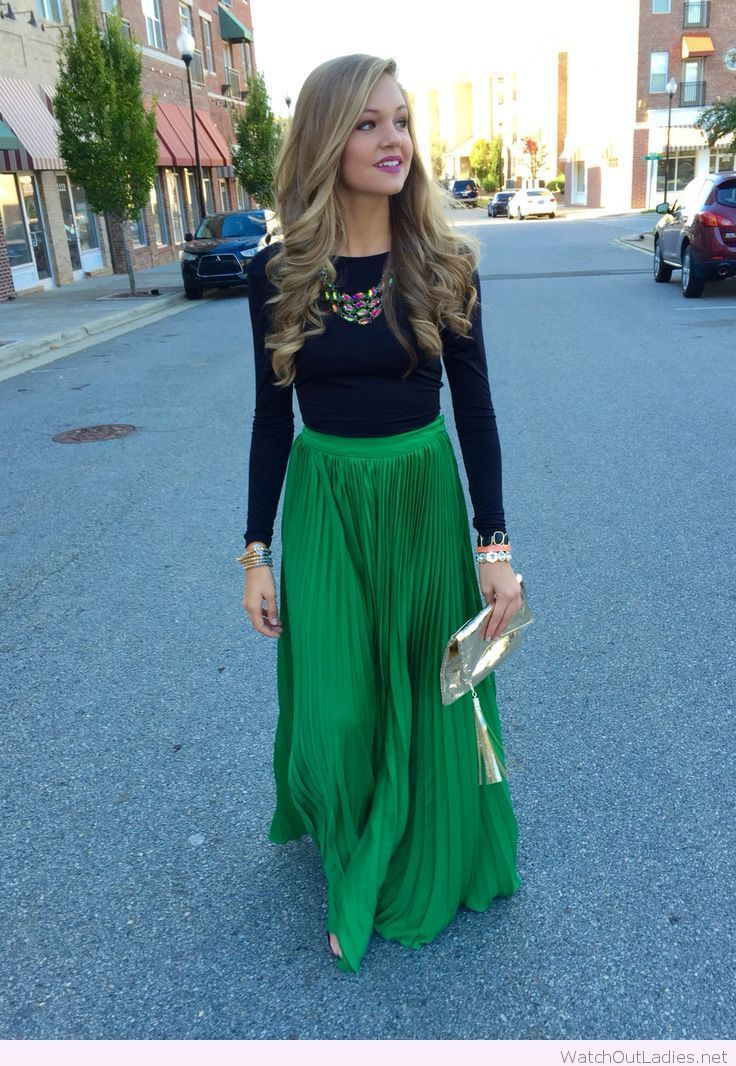 Green maxi and black blouse | watchoutladies.net | Pinterest ...