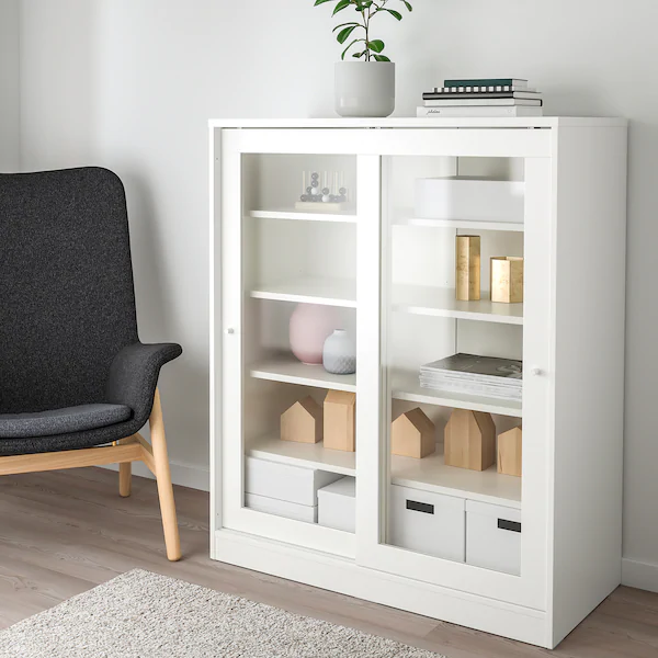 Syvde Cabinet With Glass Doors White Ikea In 2020 Glass Cabinet Doors Ikea Glass Door