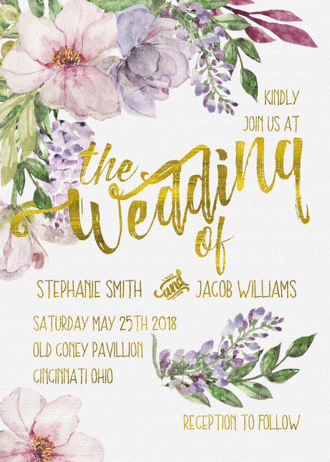 Watercolor Watercolour Spring Floral Gold Foil Whimsical Wedding ...