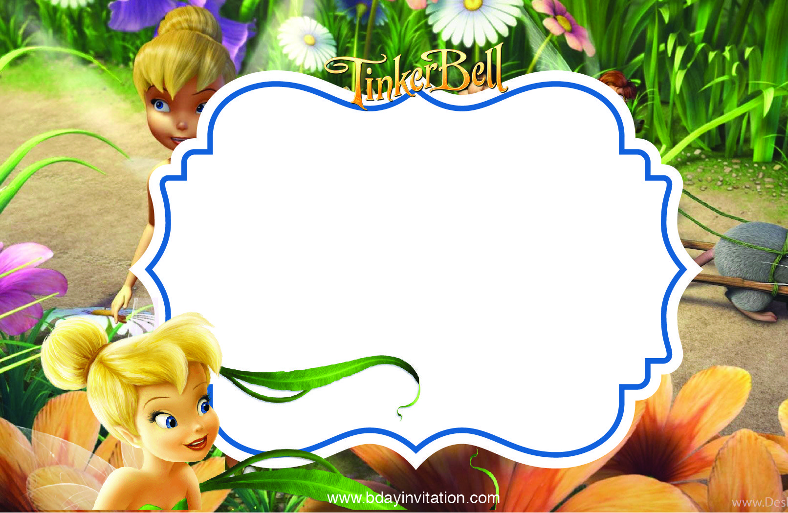 Cool Free Printable Disney Tinkerbell Birthday Invitation Template