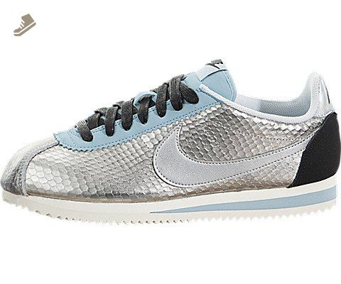 the latest 66d34 7e799 Nike Women's Classic Cortez Leather PREM Metallic Silver ...