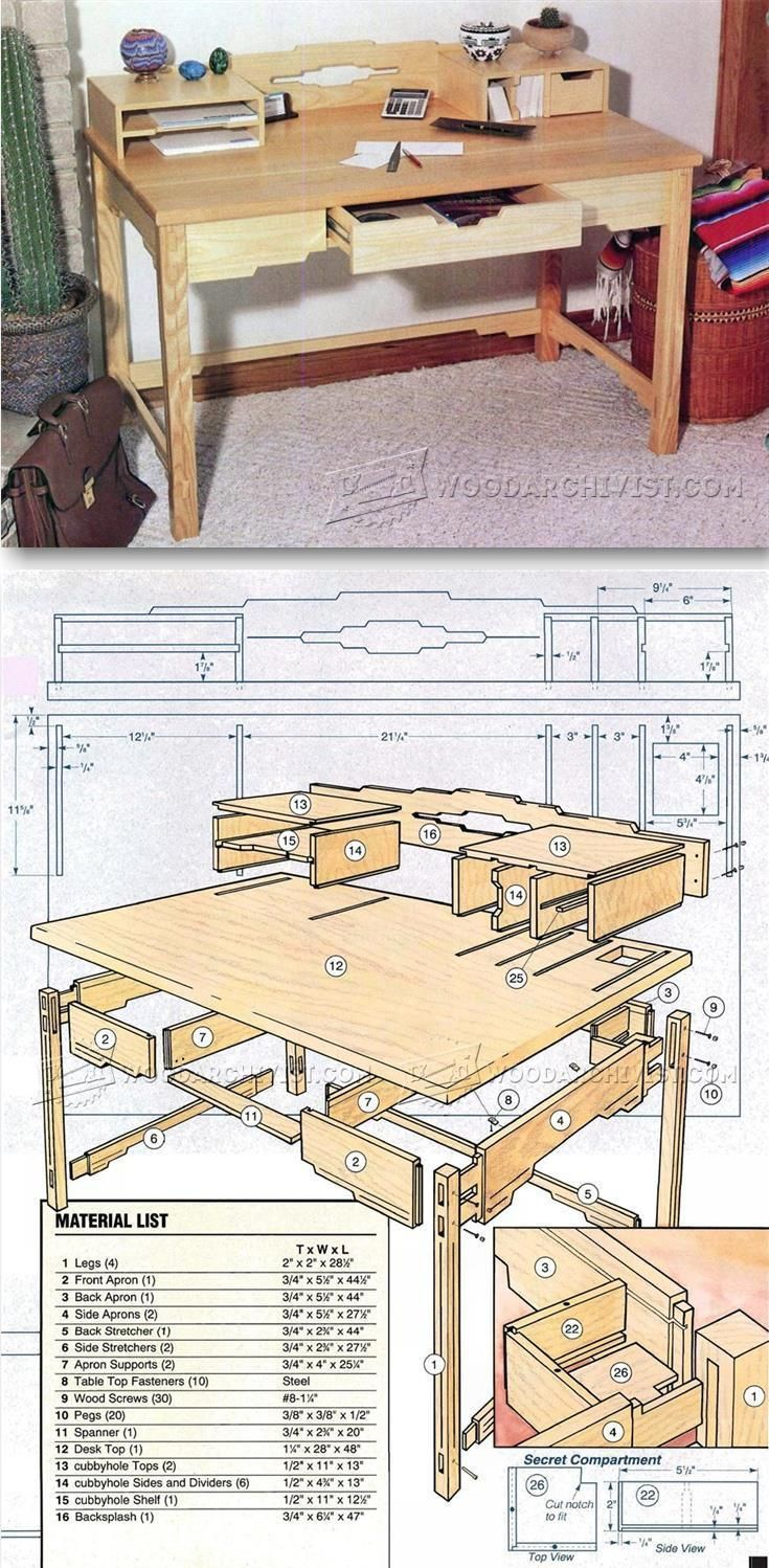Santa Fe Style Desk Plans - Furniture Plans and Projects | http://WoodArchivist.com