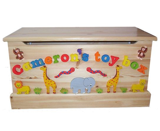 Toy Boxes Wooden Toy Boxkids Jungle Animal Themed Childrens Funky Bedroom Furniture Zoo Home Garden Vibranthns Lk