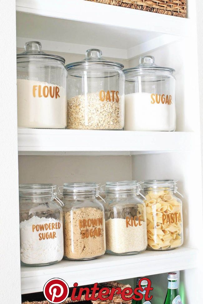 Open Pantry Shelves and Free Pantry Labels Printable!   Ideas for pretty and functional open pantry shelves, including a free pantry labels printable to help organize you pantry items!