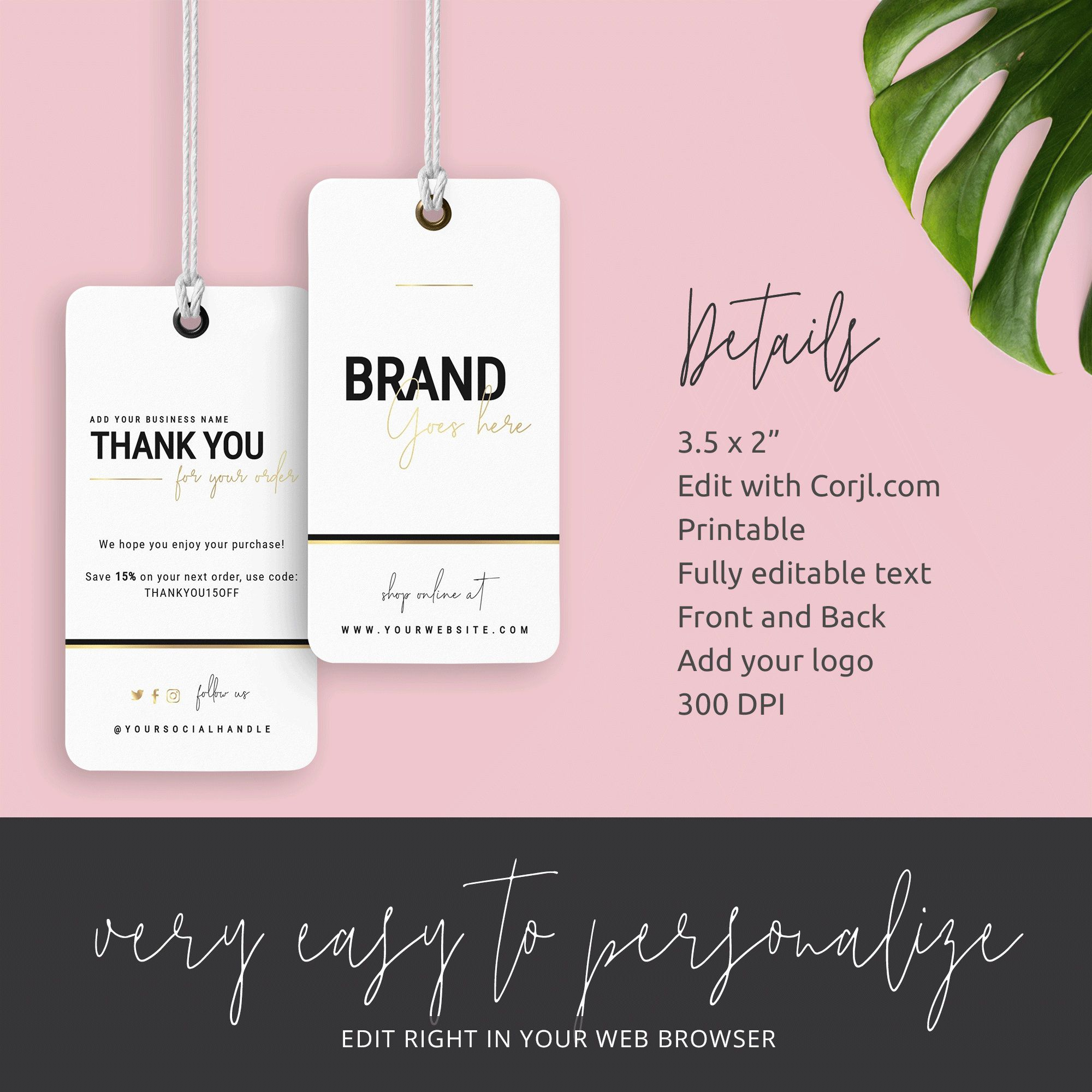 Faux Gold Hang Tag Template Editable Hanging Tag Thank You Etsy Tag Template Thank You Card Template Business Thank You Cards