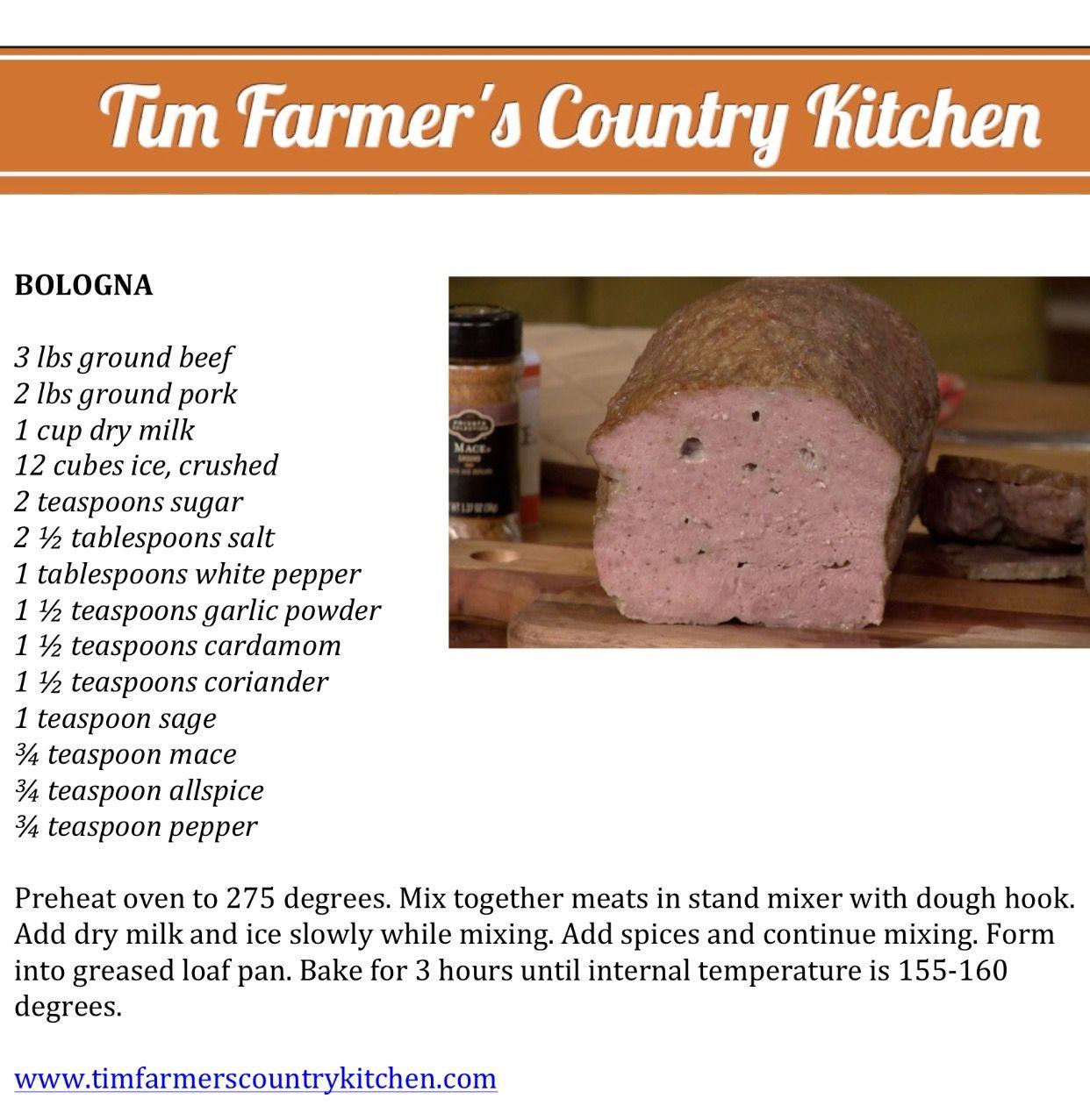 Tim Farmer\'s Country Kitchen Bologna Recipe | Food! | Pinterest ...