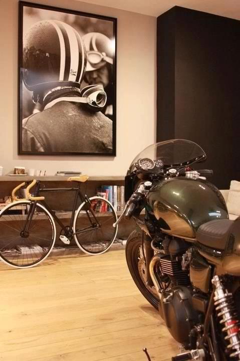cool art work picture caf racer pinterest moto deco moto et garage. Black Bedroom Furniture Sets. Home Design Ideas