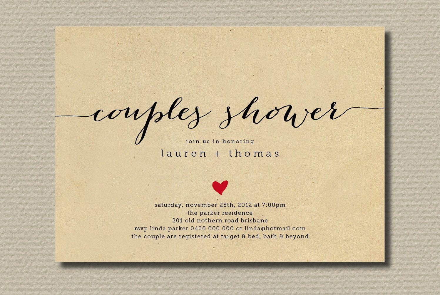 Ordinaire Couples Wedding Shower Invitations | Simple Wedding Shower Invitation  Couples With Heart | OneWed.com