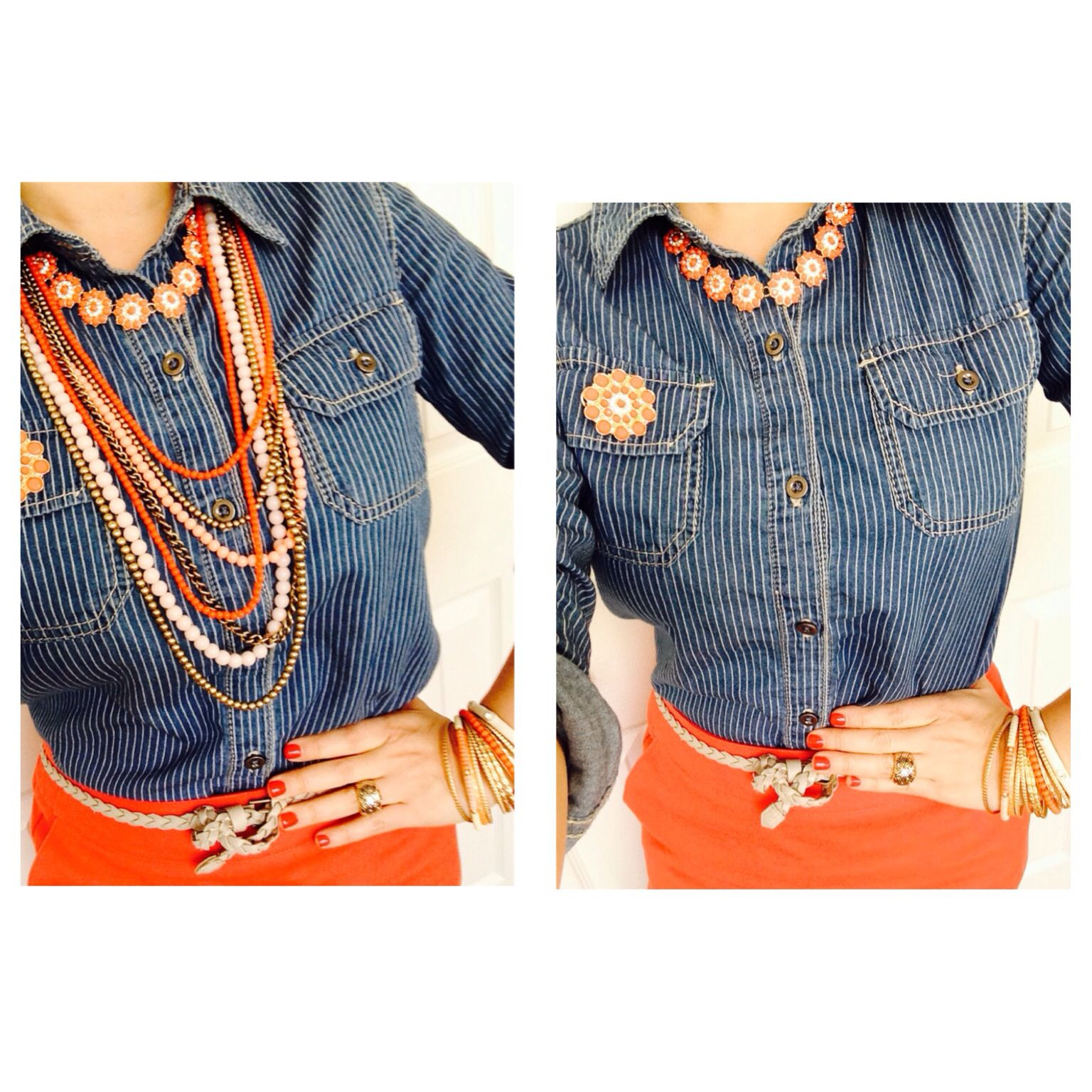 Peachy keen, creme bruelle, papaya, crush, denim shirt, premier designs jewelry.  Gorge!