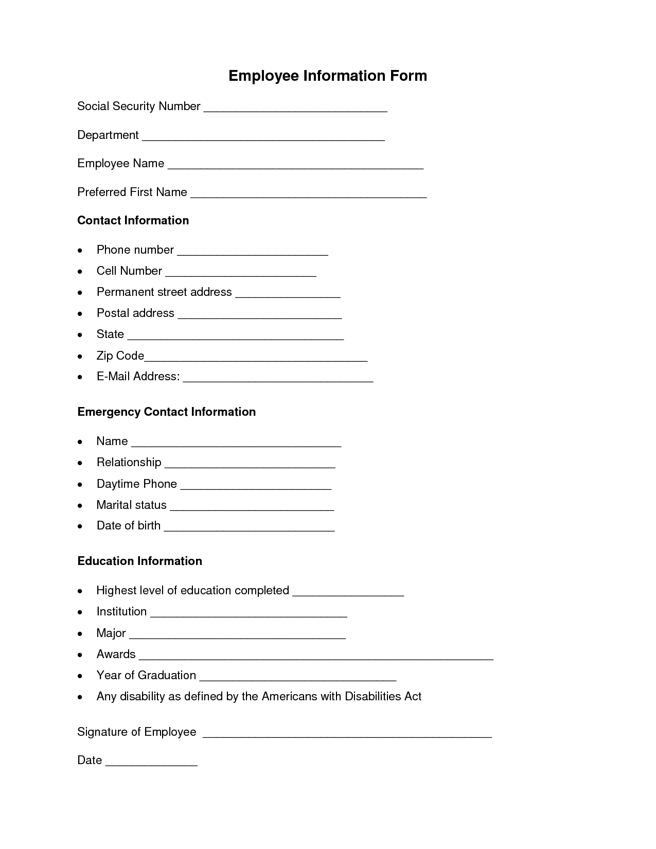 Employee Information Form – Employee Contact Information Template