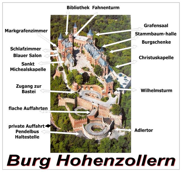 Burg Hohenzollern Labeled Hohenzollern Castle Castle Layout Castle