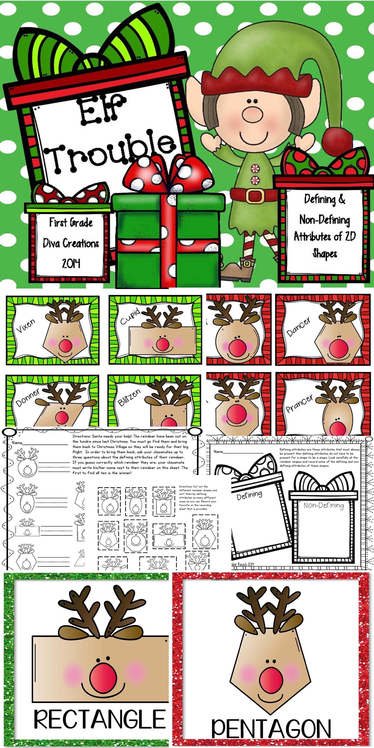 2d Shape Activities Christmas Math Activities