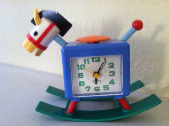 Vintage Plastic Novelty Rocking Horse Alarm Clock By Xonex Quartz Reserved For Karin Rocking Horse Clock Vintage