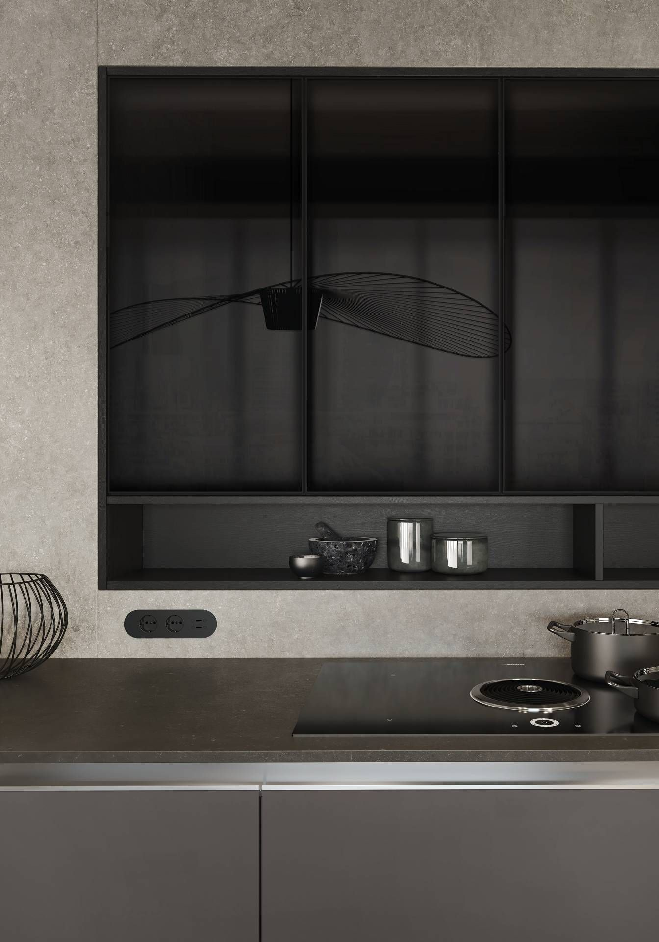From The Siematic Pure Collection Nearly Opaque Black Glass With A Thin Black Matte Metal Frame Luxury Kitchen Decor Pure Products Vintage Kitchen Decor