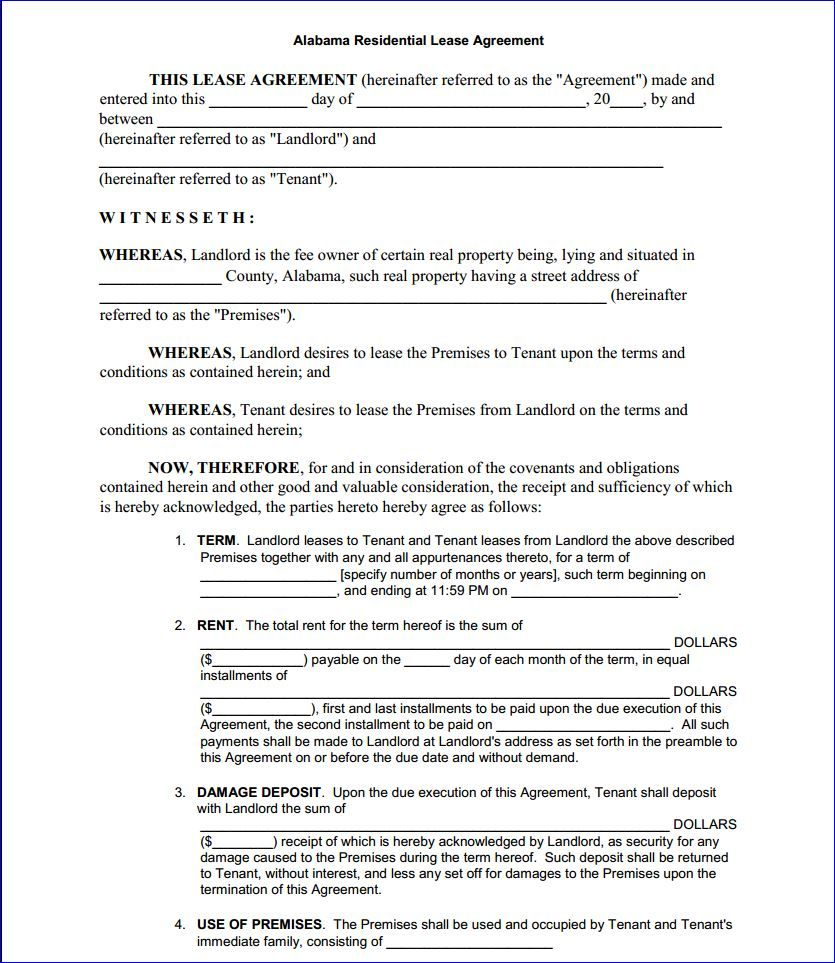 Free Printable Residential Lease Form Generic Lease Agreement