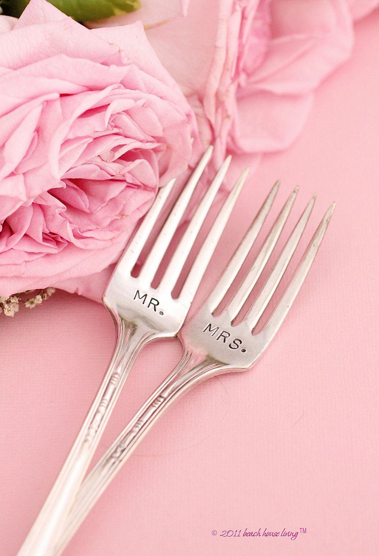 Mr mrs wedding forks vintage silver plate silverware