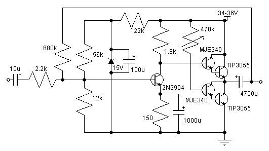 simple amplifier using with mje340 tip3055