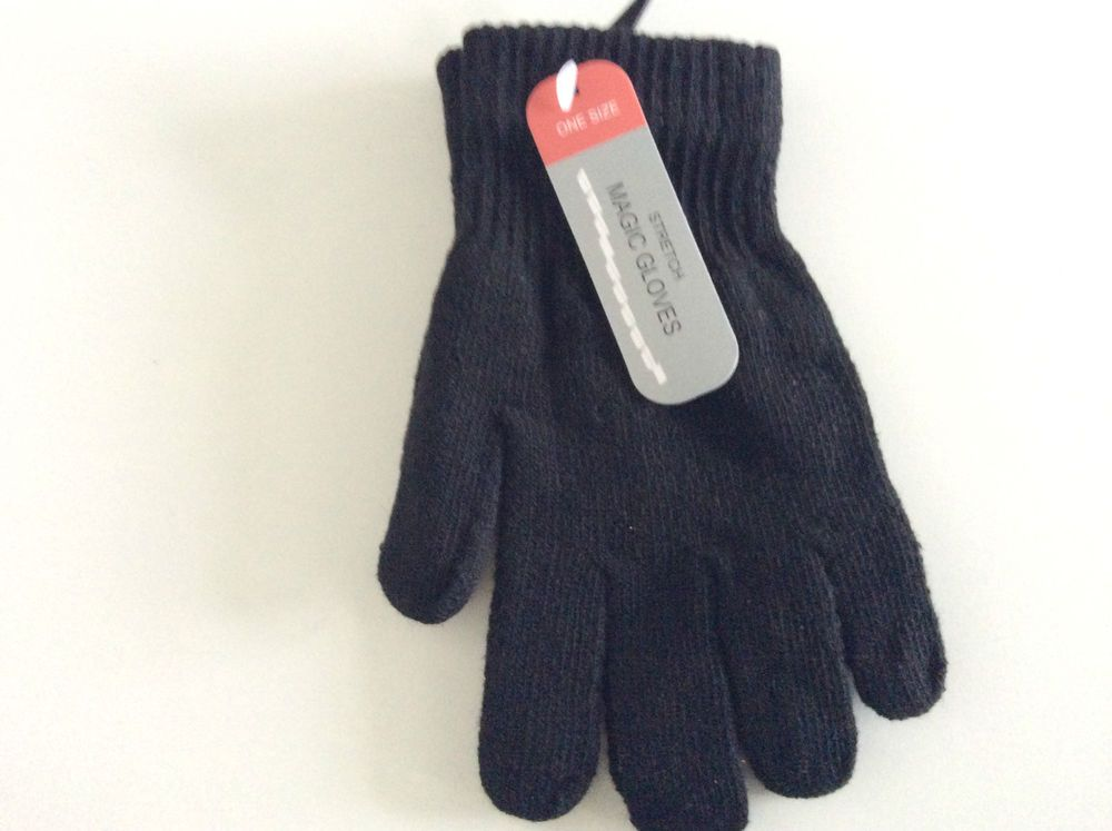 2 PAIRS OF MAGIC WINTER WARM THERMAL GLOVES STRETCH BLACK BEST DEAL