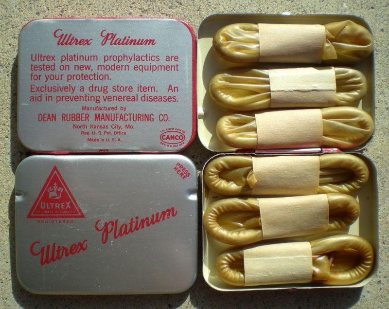 2 Vintage Original Ultrex Metal Condom Tins Full With