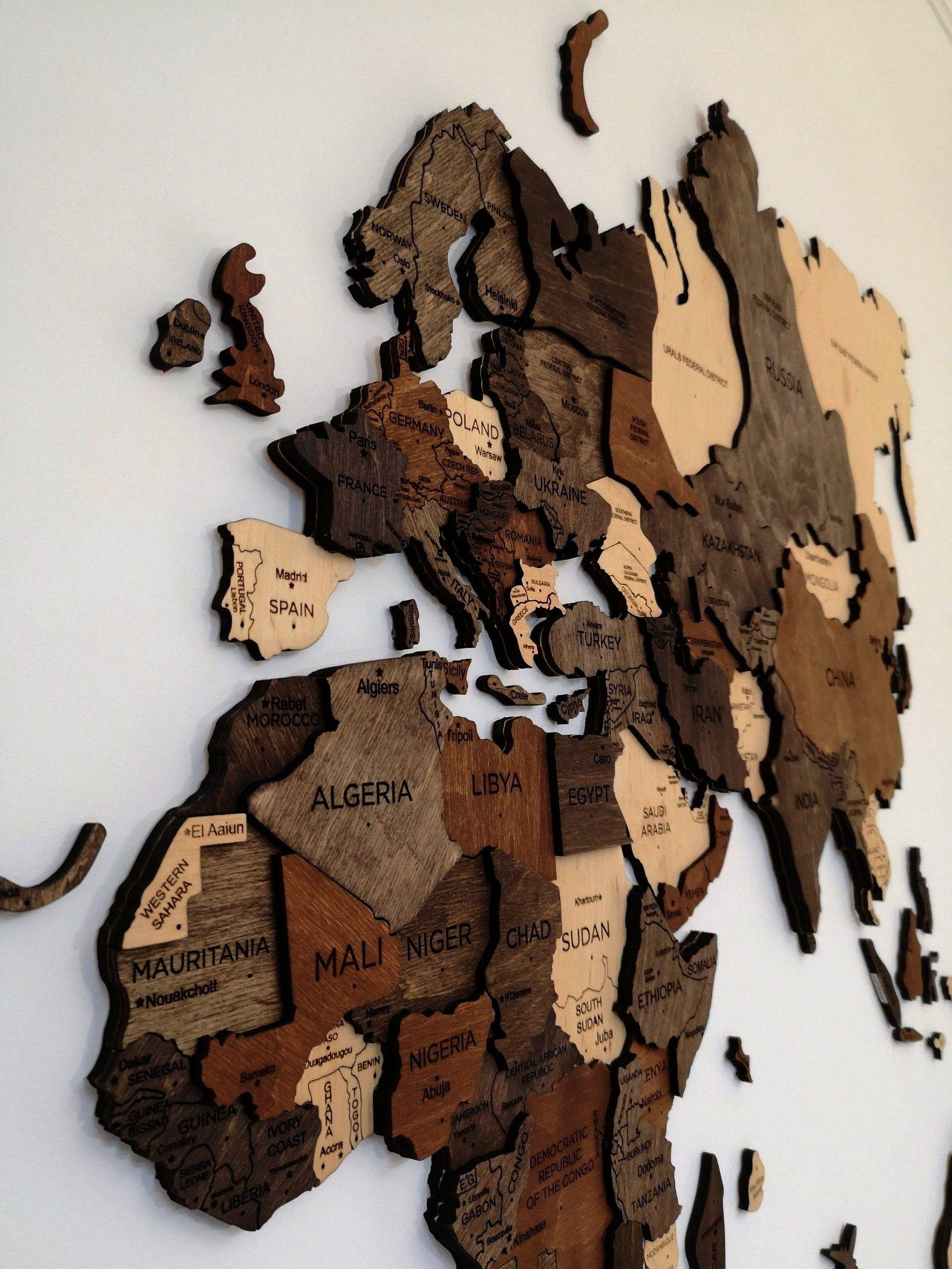 Jahrestagsgeschenk Dekordekorwand Dekordekor Worldwide Available Wandkunst Weltkarte Rustikale Shipping Furwa In 2020 Boyfriend Wall Art Wooden Map Wall Maps
