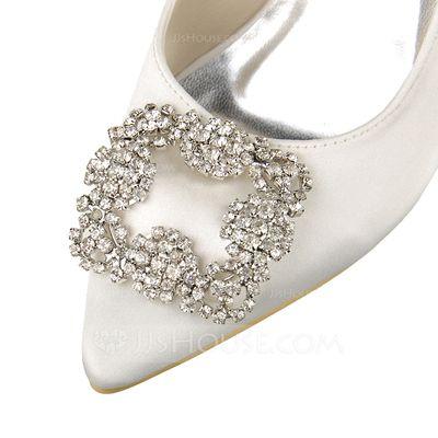 Women's Closed Toe Pumps Stiletto Heel Satin Rhinestone Wedding Shoes