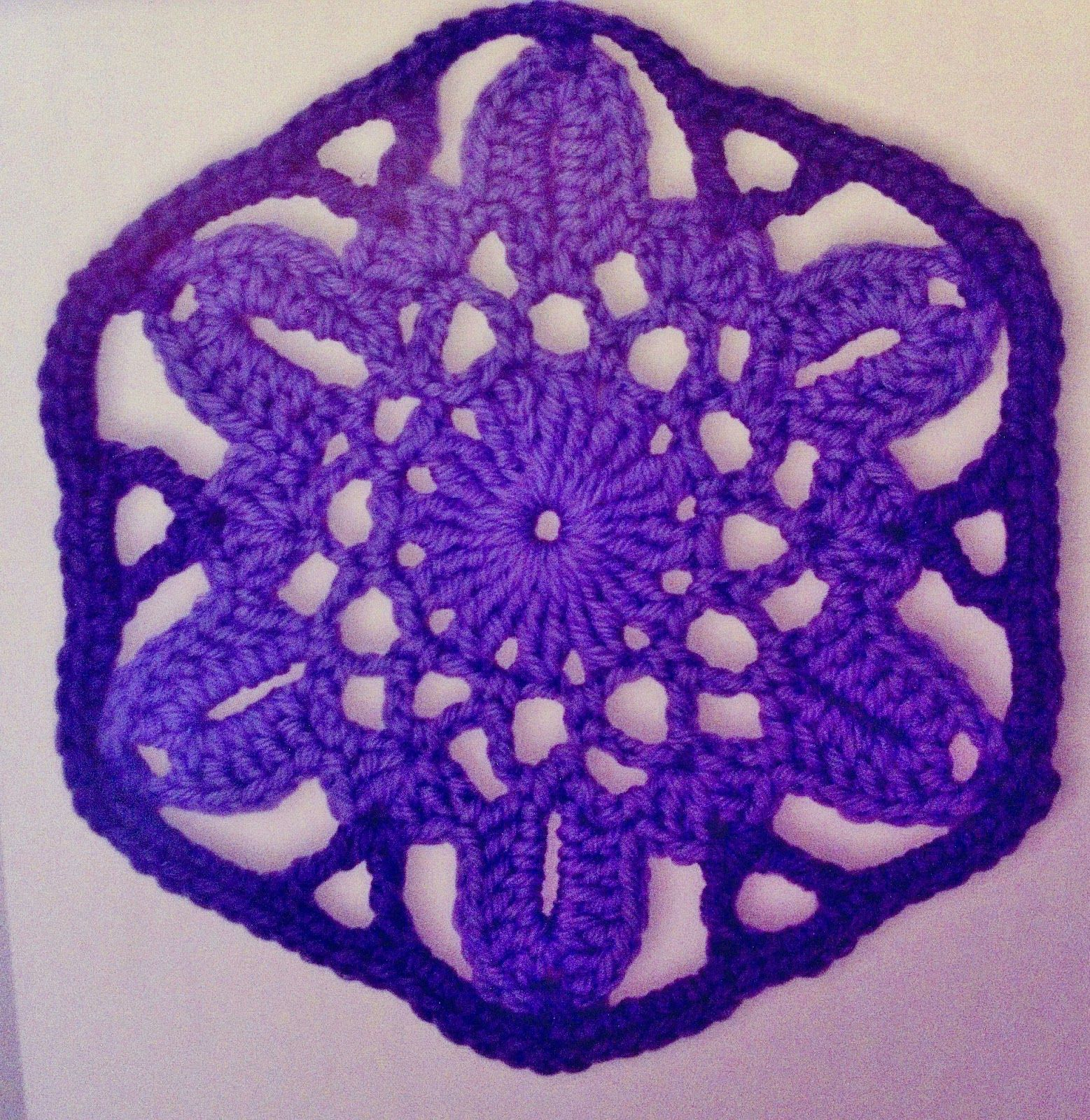 The Troubled Artist Crochet Pattern Large Flower Hexagon