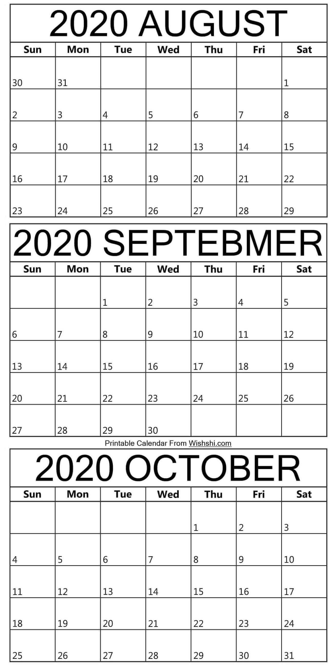 Printable August To October 2020 Calendar in 2020