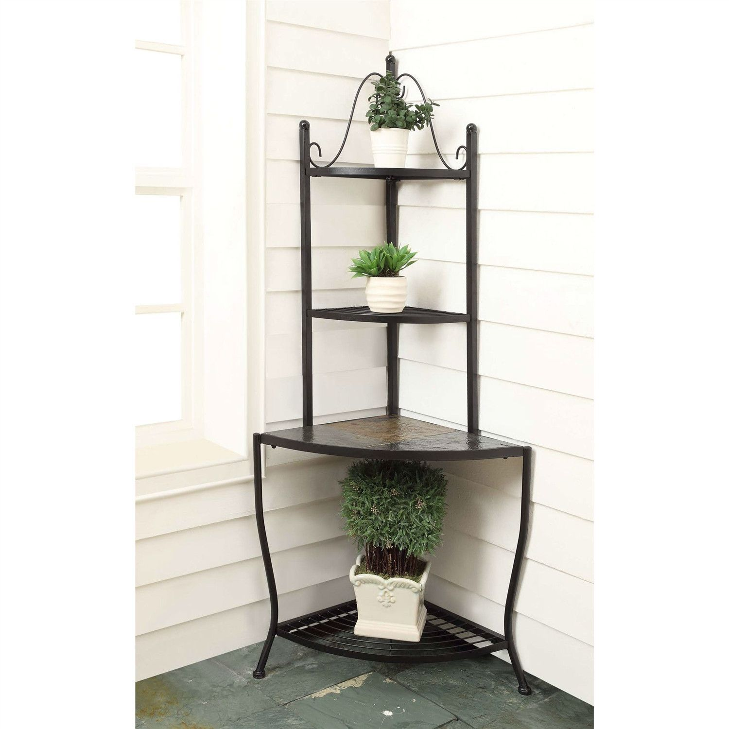 Corner Bakers Rack Plant Stand For Indoor Or Outdoor Use