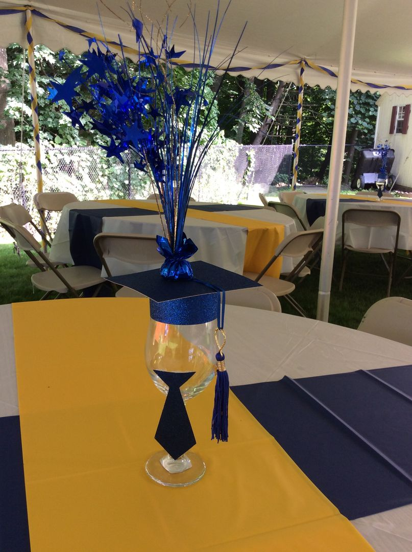 Royal Blue And Gold Graduation Party By Ev Events And Rentals Graduation Party Centerpieces Graduation Party Table Outdoor Graduation Parties