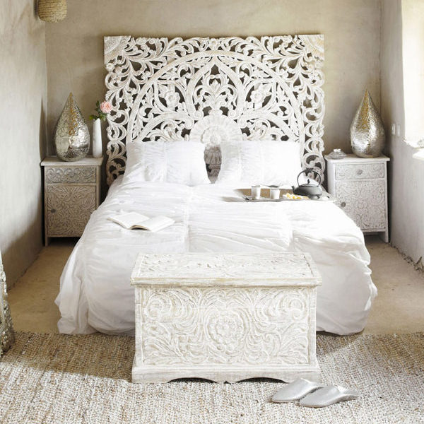 Beach Cottage White King Size Carved Wood Bed Headboard Large Lombok Reclaimed Teak Wood Wall A In 2020 King Size Bed Headboard King Size Headboard