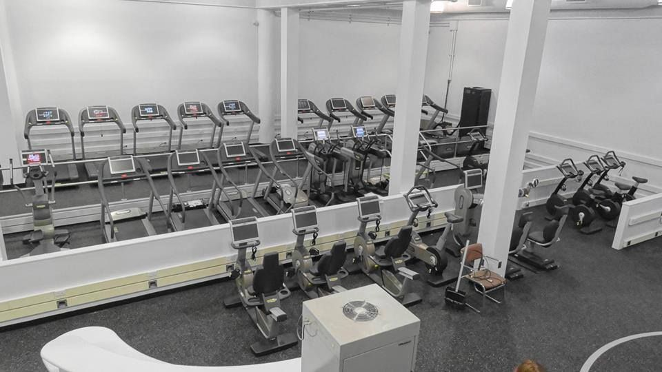 The view of the cardio floor from up above in 92nd Street Y in New York City fully furnished with Technogym machines.