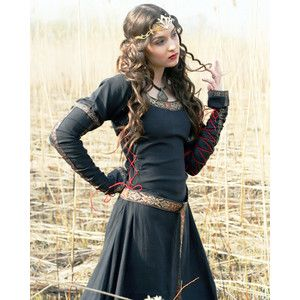 Renaissance Medieval Dress Women Costume Gothic Goth Bodice Lady Hunter Viking