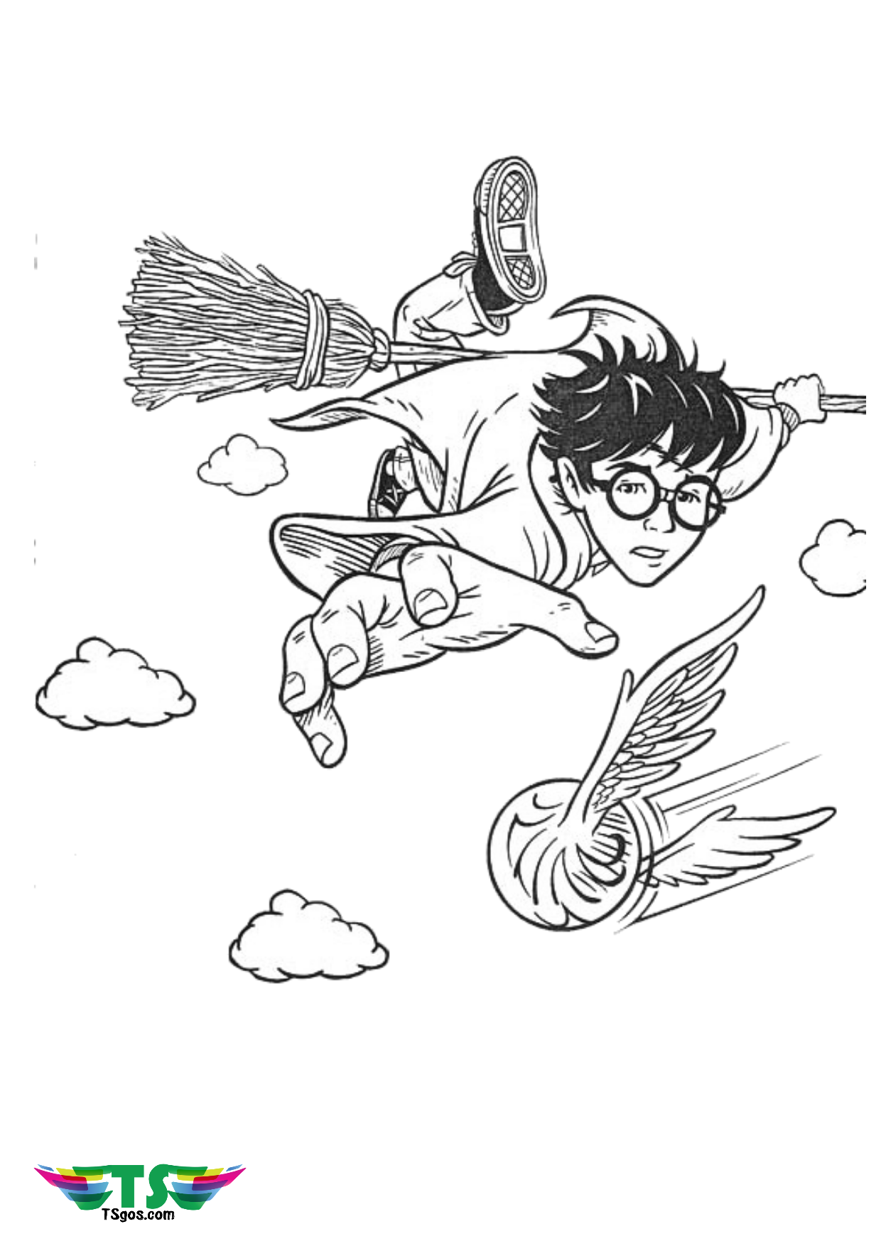 Harry Potter riding broom Nimbus and chasing Quidditch coloring