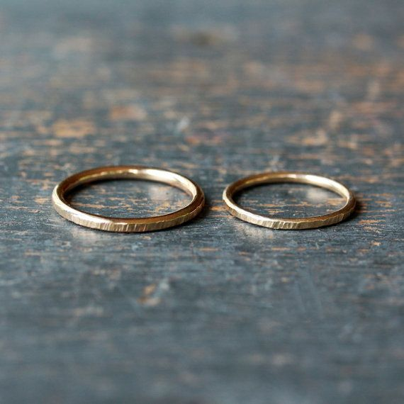 His and Hers Wedding Band Set Two Gold Bands 14k by ShopClementine