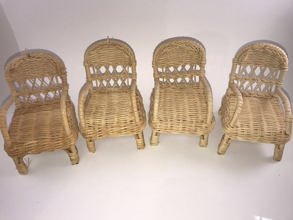 Vintage Wicker Rattan Chairs Barbie Doll Size Patio Furniture Lot Of