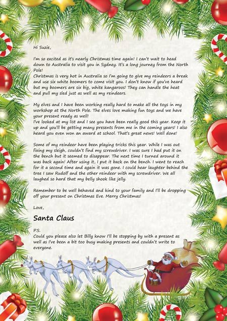 Sample Letters From Santa Claus