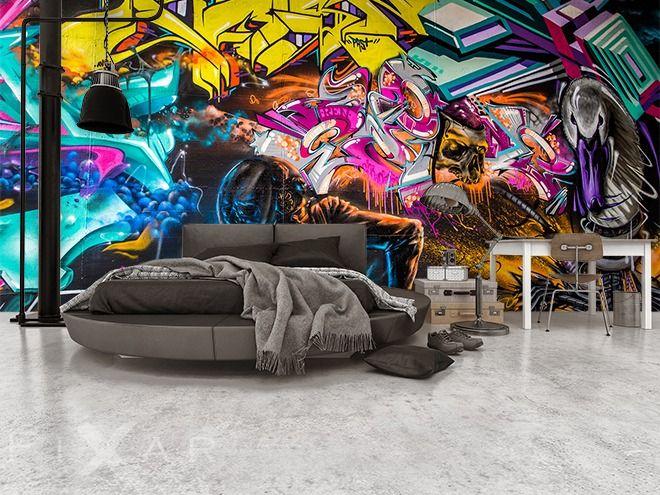 Farbe, Kraft und Expression-Glanz des Graffitis Fototapete fürs - farbe fürs schlafzimmer