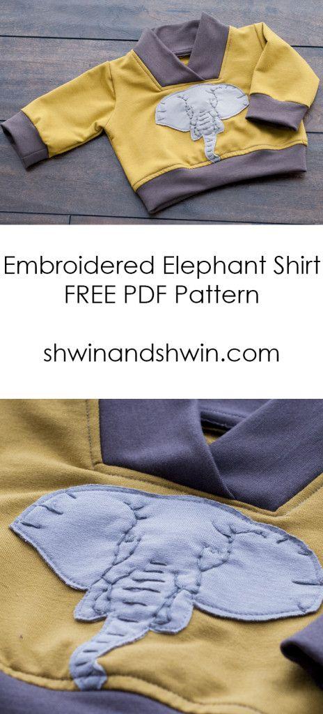 Embroidered Elephant Sweatshirt || Free PDF Pattern&Template ...