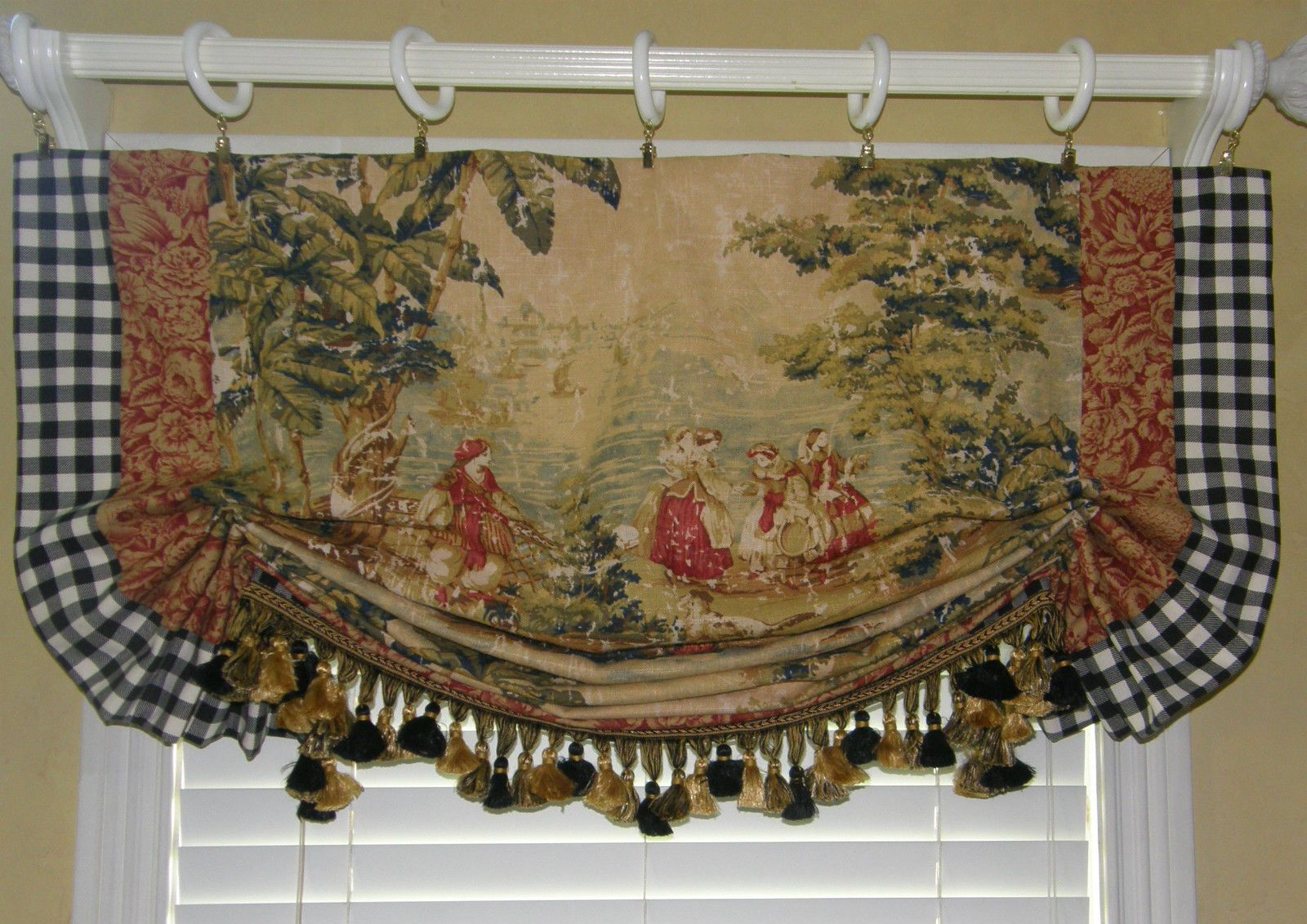 Custom Made French Country Provence Bosporus Toile Vintage Red Covington  Valance