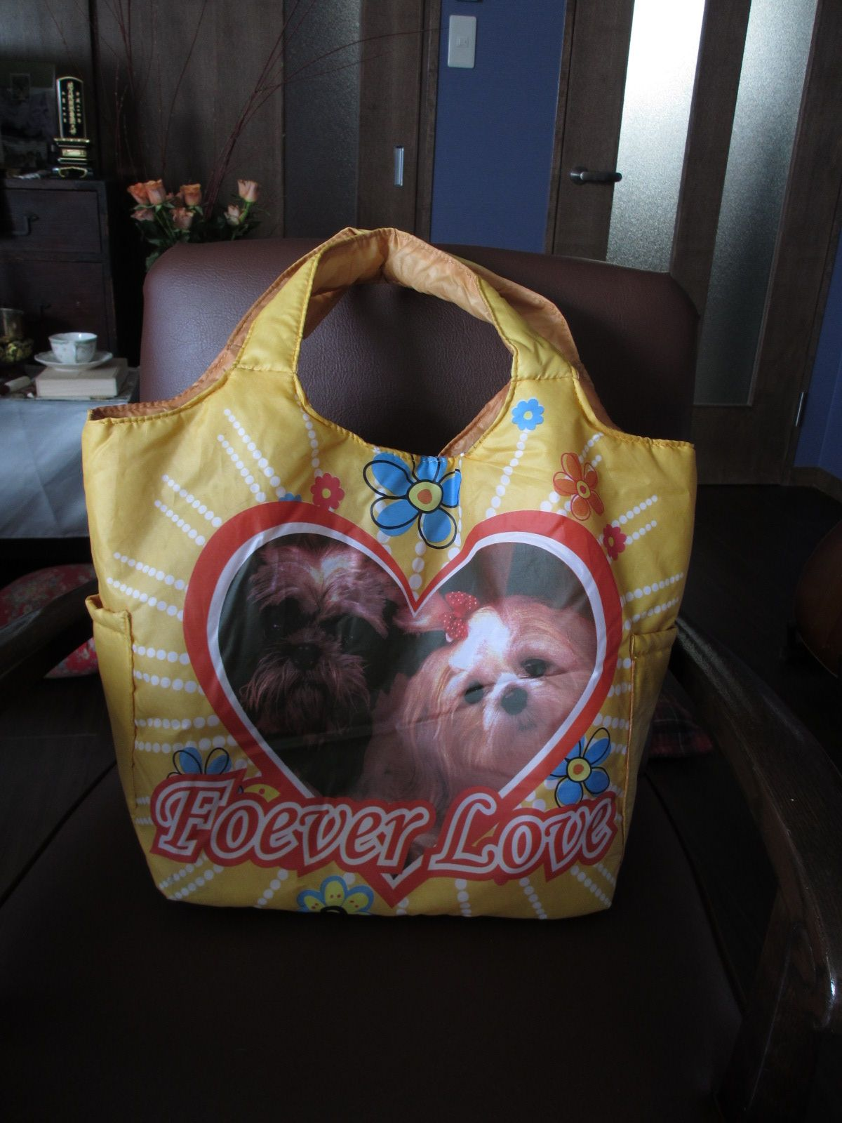 I bought a shopping bag.  The dogs appearing in this photograph resemble my sons.