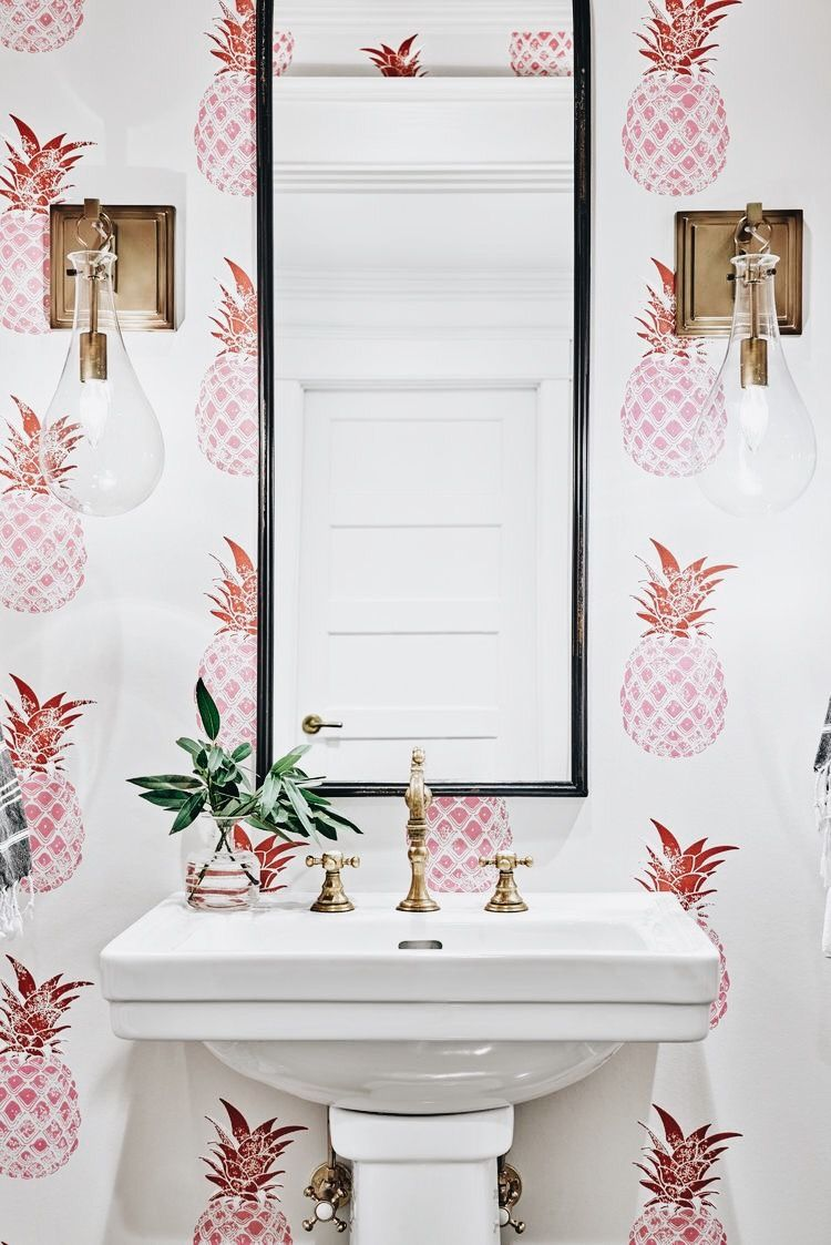 Pineapple Wallpaper Bathroom With Brass Lighting And Accents