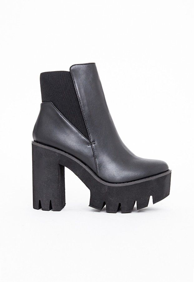 48e240f3992 Missguided Alexia Cleated Sole Chelsea Boots Black on shopstyle.com ...