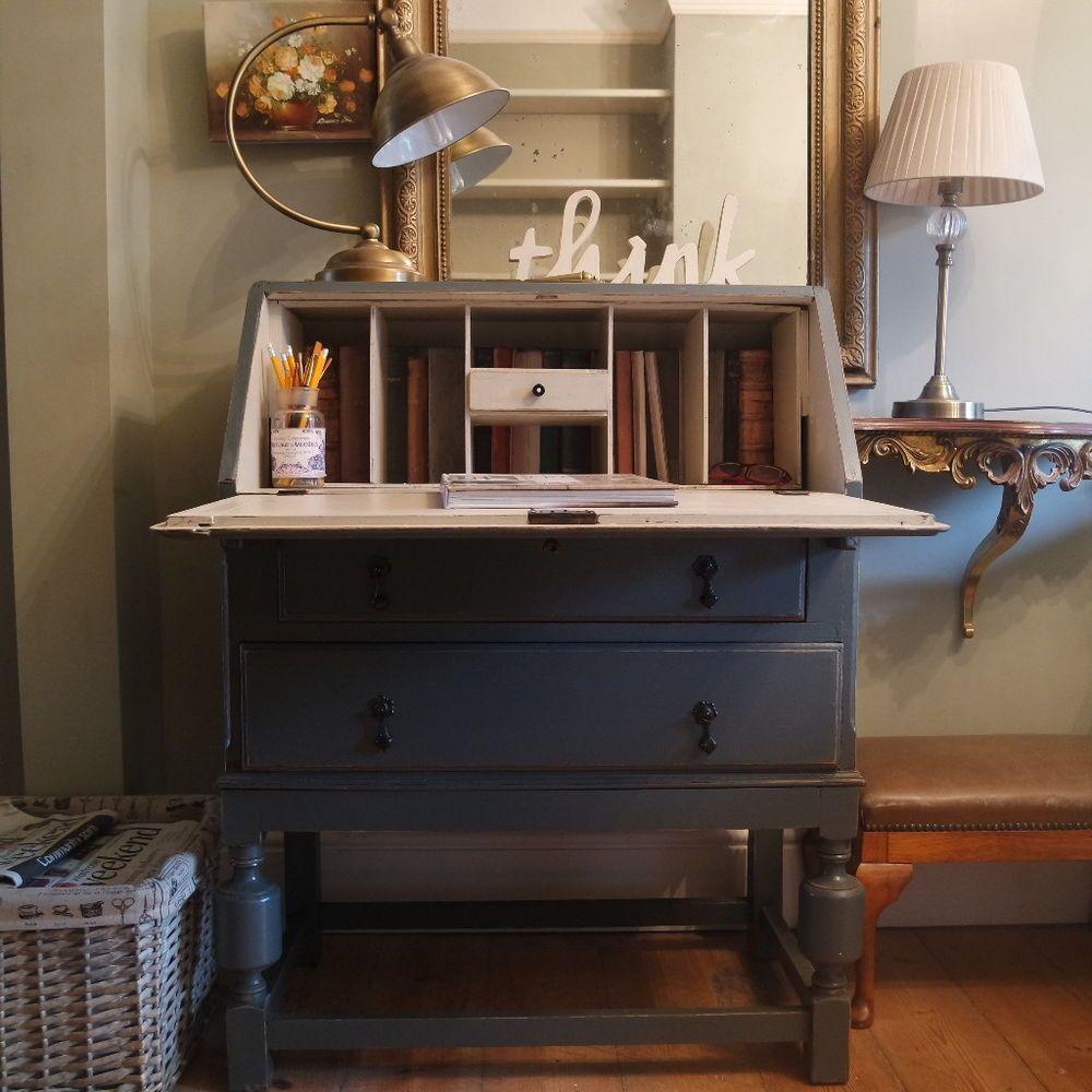 Vintage Art Deco Painted Bureau Writing Study Computer Desk Work  # Muebles Ebenezer
