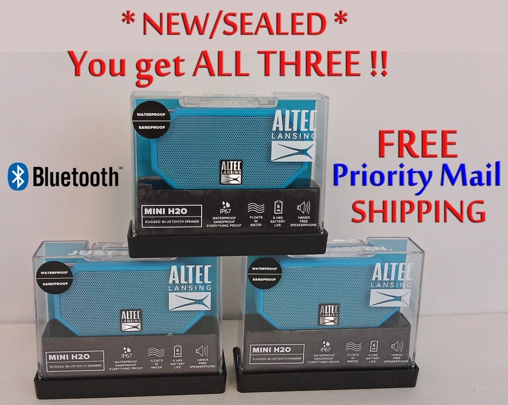 Set Of 3 Altec Lansing Mini H20 Bluetooth Portable Speakers New
