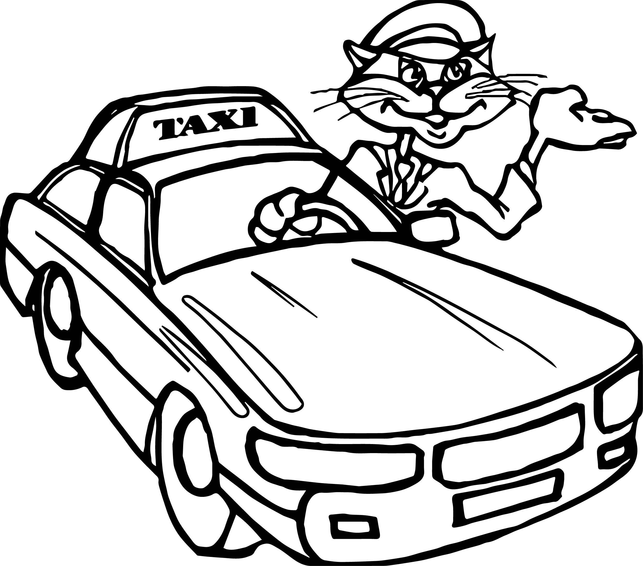 Nice Taxi Cat Driver Car Coloring Page