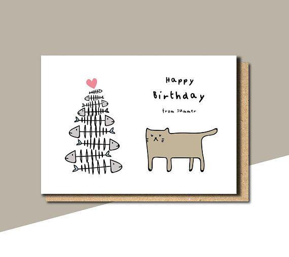 Birthday Card From The Cat Birthday Card Cat Funny Birthday Card