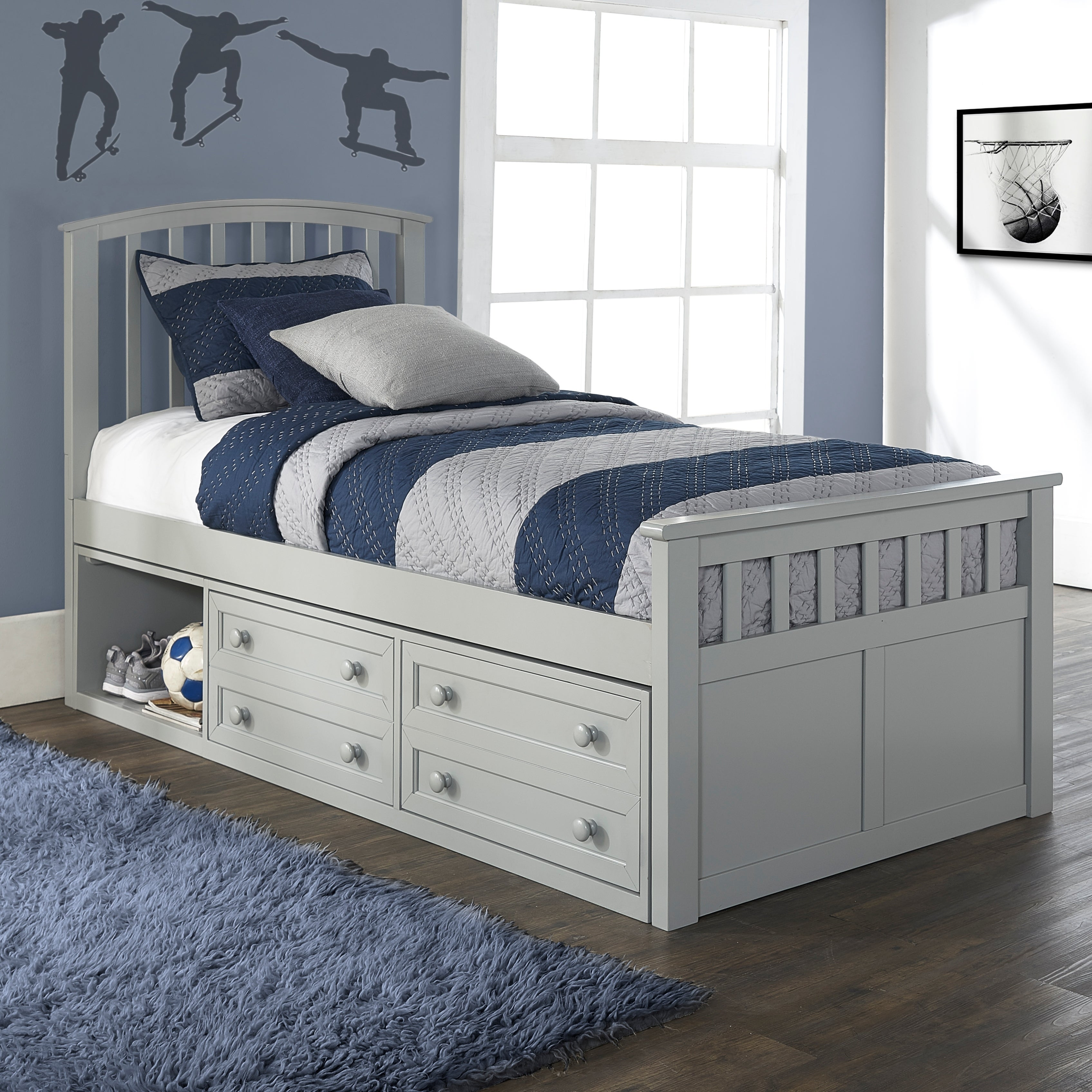 Charlie Wood Twin Size Captain S Bed With Storage Gray Kids