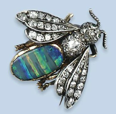 ANTIQUE GEM SET AND DIAMOND INSECT BROOCHES  One hornet with opal abdomen and diamond wings and thorax.